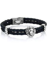 Atolyestone London - Oxidised Leo Leather Bracelet - Lyst