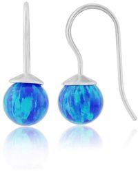 Lavan - Dark Blue Opal Silver Drop Earrings - Lyst