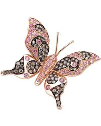 Pinomanna - Rose Gold & Pink Sapphire Natural Chic Butterfly Necklace | - Lyst