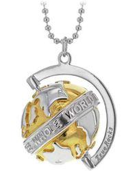 True Rocks Small Silver & Yellow Gold Revolving Globe Pendant FhLHEg2DXt