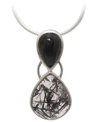 AVA Goldworks - Hollyhock Black Onyx And Rutilated Quartz Pendant - Lyst