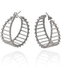 Cara Tonkin - Silver Theda Stripe Hoop Earrings - Lyst