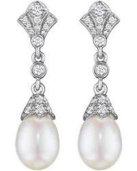 Penny Preville Diamond Pearl Drop Earrings on Posts fKR6wp17