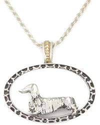 Donna Pizarro Designs 14kt Yellow Gold Long Haired Dachshund Pair Pendant thf8U