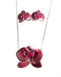 Toosis - Sterling Silver Orchid Necklace And Earring Set With Enamel - Lyst