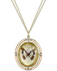 Spencer Fine Jewelry - Double-sided Gold-dusted Butterfly Necklace - Lyst