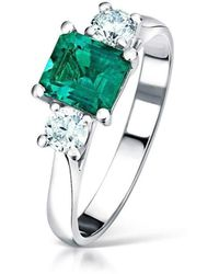 Clearwater Diamonds - Step Cut Emerald And Diamond Trilogy Ring - Lyst