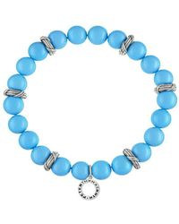 Peter Thomas Roth Fine Jewelry - Peter Thomas Roth Bead Stretch Bracelet In Sterling Silver With Simulated 9mm Turquoise Pearls - Lyst