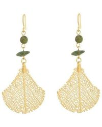 Amazona Secrets 18kt Gold Natural Arabesque Savannah Leaf Earrings 8XIPrhrg