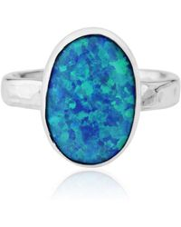 Lavan - Silver Hammered Blue Opal Ring - Lyst