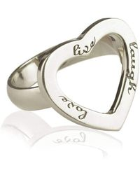 Ongkara - White Rhodium Live Laugh Love Ring - Lyst