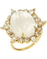 Emily & Ashley - Gold Ruffled Cocktail Ring, Moonstone - Lyst