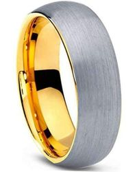 KAVALRI - Custom Brushed Silver/gold Plated Tungsten Ring - Lyst