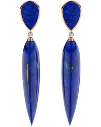MARCELLO RICCIO - Lapis Lazuli & Diamond Silver Rose Gold Plated Earrings - Lyst