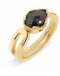 Argenton Design - Yellow Gold Pear Black Diamond Travelling Engagement Ring - Lyst