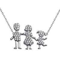 Cosanuova - Rhodium Plated Family Pendant One Boy Necklace - Lyst