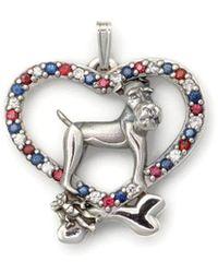 Donna Pizarro Designs Sterling Silver And Sapphire Wire Fox Terrier Pendant