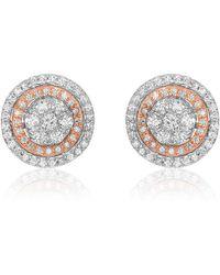 Nehita Jewelry - Two Tone White And Rose Gold Diamond Stud Earrings - Lyst
