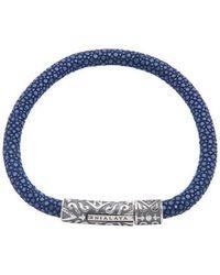 Nialaya   Dark Blue Stingray Bracelet With Silver Lock   Lyst