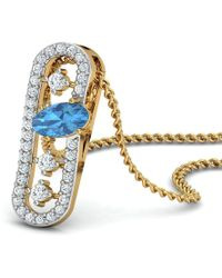 Diamoire Jewels - Nature Inspired Oval Aquamarine Pendant With Premium Diamonds In 18kt Yellow Gold - Lyst