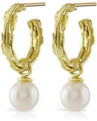 Karen Phillips - 18kt Yellow Gold Mina Pearl Hoop Earrings - Lyst