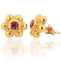 Ana Verdun - 9kt Gold & Ruby Grace Stud Earrings - Lyst