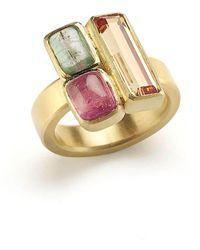Julia Lloyd George - 18kt Yellow Gold Geometric Art Deco Ring - Lyst