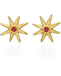 Ayalla Joseph - Star Earrings With Red Spinel - Lyst