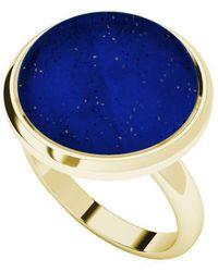 StyleRocks - Lapis Lazuli Yellow Gold Plated Cabochon Ring - Lyst