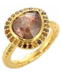 Susan Wheeler Design - Yellow Gold Brown Diamond Ring With Pave Diamond Surround - Lyst