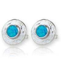 Lavan Sterling Silver & Blue Opal Stud Earrings nJeIfjDWG