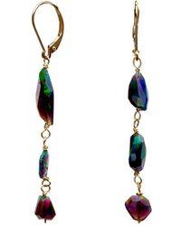 Nadean Designs - Black Opal Mismatch Earrings On 14kt Yellow Gold - Lyst