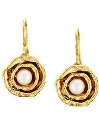 Joseph Lamsin Jewellery - Gold Vermeil Double Cup Pearl Earrings - Lyst