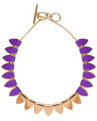 Stefano Salvetti - Yellow Gold Plated Bronze And Violet-black Enamel Necklace - Lyst
