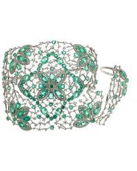 Gaydamak - Emerald Ring And Cuff Bracelet - Lyst