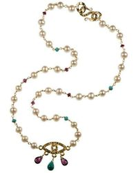 Xanthe Marina - 18kt Gold Evil Eye Necklace - Lyst