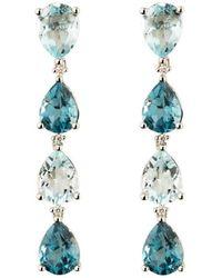 Emily Mortimer Jewellery - Aqua Topaz Long Drop Earrings - Lyst