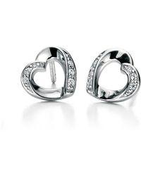 Fiorelli - Clear Cz Ribbon Heart Earrings - Lyst