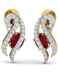 Diamoire Jewels Binding Ruby And Diamond Earrings in 18kt Yellow Gold 4cH78hR