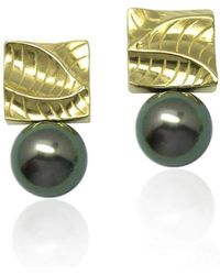 K.Mita - Small Square Pearl Earrings - Lyst