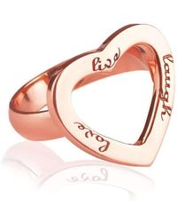 Ongkara - Rose Gold Plated Live Laugh Love Ring - Lyst