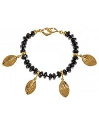 Hissia - Melanite Garnet Bracelet With Gold Shields Charms - Lyst