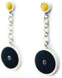 Naomi Davies Jewellery - Sterling Silver & Leather Circle Earrings - Black & Yellow - Lyst