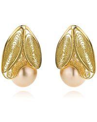 AMMA Jewelry - 18kt Gold Filigree & Myanmar Pearl White Butterfly Earrings - Lyst