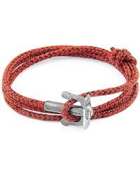 Anchor & Crew - Red Noir Union Silver And Rope Bracelet - Lyst