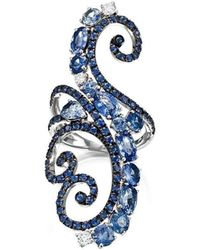Pinomanna - White Gold, Diamond & Sapphire Ramage Collection Ring | - Lyst