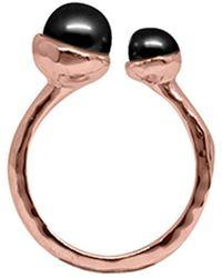 Murkani Jewellery - Rose Gold & Double Black Pearl Riveria Ring - Lyst