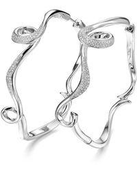 Fei Liu - Rhodium Plated Serenity Large Hoop Earrings - Lyst