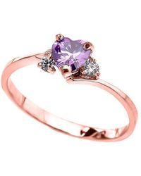 QP Jewellers - Cz Heart Promise Engagement Ring In 9kt Rose Gold - Lyst