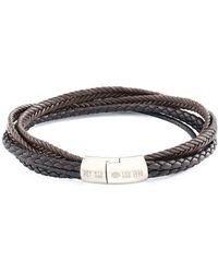 Tateossian - Silver & Brown Leather Multi-strand Cobra Bracelet | - Lyst